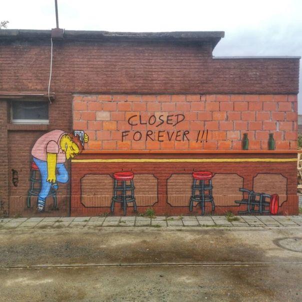 """Closed Forever"" for #sorrynotsorrygent Estival In Gent #oakoak #streetart #urbanart #barney #thesimpsons #simpson #closed #moe #bar #tavern #moestavern #urbanart #fun #gent #gand #ghent #belgique #belgium #belgiumstreetart #end #forever #beer #biere #sad"
