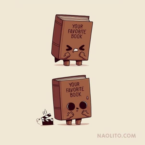 Not All Adaptations Are Bad Though! 😅 What's Your Favorite Book? edit: We Are 300k, Thank You!!!!! #book #read #books #movie #movies #adaptation #cute #art #cuteness #kawaii #comic #funny #indieart #art #illustration #illustrator #indieartist #aww #awww #awesome #artprint