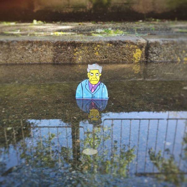 """Oh My God, He 'S Like Some Sort Of Non Giving Up School Guy"" #oakoak #simpson #endgame #skinner #terminator #bart #bartsimpson #thesimpsons #streetart Uban #water #bridge #pont #bart #school #comics #street #streetart #funny #fun #stencil #comic #eau #riviere #river #stencil #mtn94"