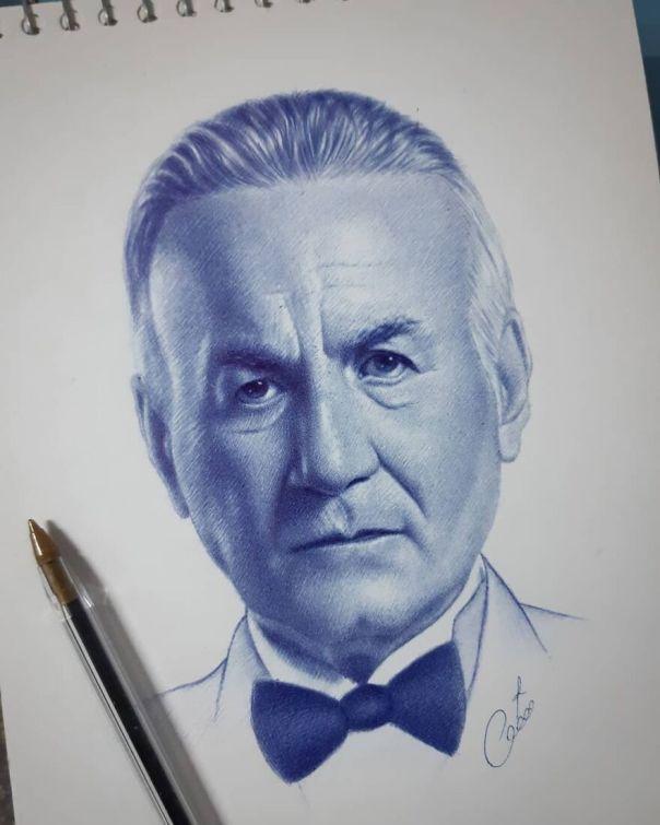 اسكتش للفنان الراحل عزت ابو عوف ❤ بالقلم الجاف. ballpoint Pen Sketch An Egyptian Actor Had Passed Away.