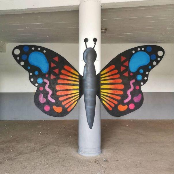The 2 Butterflies . Project With The Kids Of The Magand 'S School In Sorbiers. les 2 Papillons. Projet Réalisé Avec Les Élèves De Cm1 De L École Magand À Sorbiers #oakoak #streetart #urbanart #oaky #graffityart #urban #papillon #butterfly #wings #ailes #couleur #color #project #school #ecole #art #stencil #pochoir #sorbiers #urbain #anamorphose
