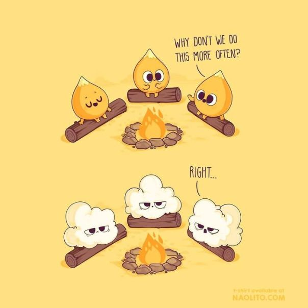 No Worries, They Only Have Minor Burns🍿i Hope You Like It! #comicstrip #cute #kawaii #popcorn #aww #awesome #campfire #illustration #awesome #fire #camping #cartoons #relatable #nature #food #foodies #fooders