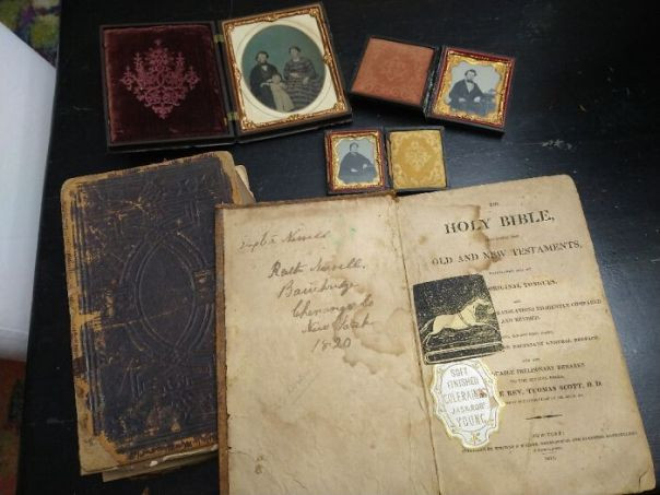 Old Family Bibles From The 1820s And My Great, Great Grandparents Civil War Daguerreotypes.