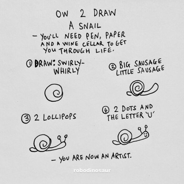How 2 Draw A Snail