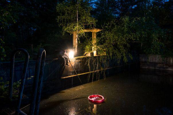 Abandoned Swimming Pool At Night