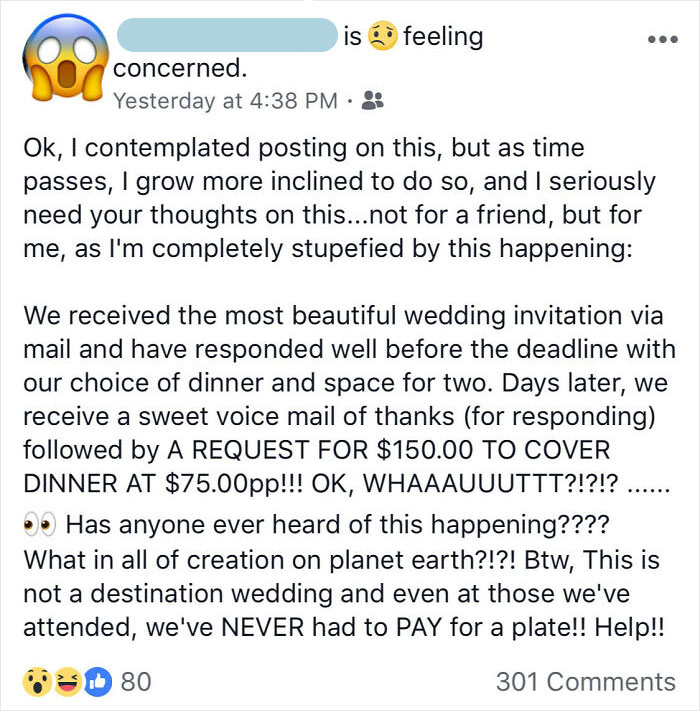 Bride Gets Rsvps From Wedding Guests And Only After The Fact Tells Everyone Who Said They Were Coming That They Need To Pay $75 Per Plate