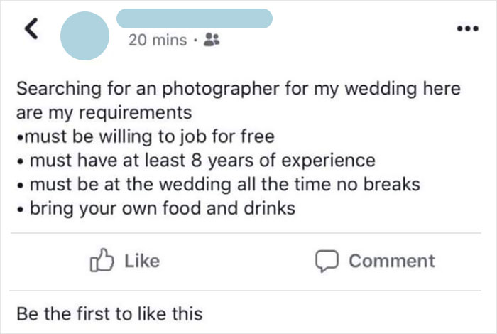 What Is It About Weddings That Brings Out The Choosiest Of Beggars