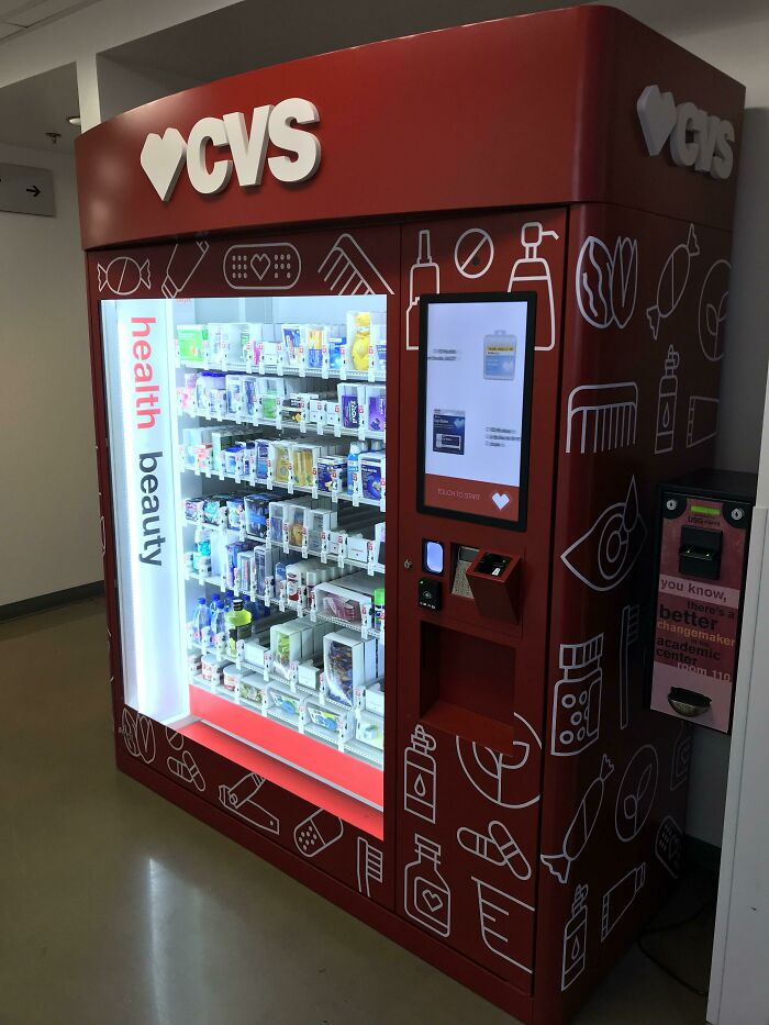 My School Just Installed A CVS Vending Machine Full Of Medicine And Hygiene Products