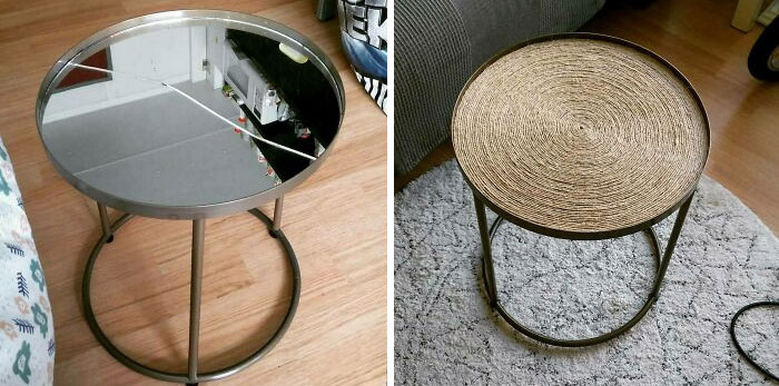 Got This Side Table From The Curb. It's Top Was Broken, So I Spend A Little Over 3 Hours And €4 Worth Of Rope And Glue To Upcycle It To This!