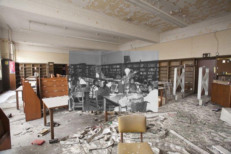 then and now abandoned school in detroit 1 - Fotos de uma escola abandonada em Detroit (antes e depois)