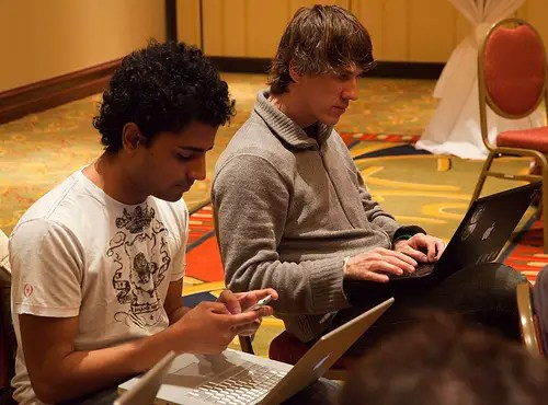 Dennis Crowley and Naveen Selvadurai of foursquare