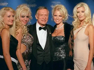 Hugh and four blondes (AP)