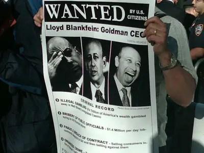 lloyd blankfein goldman sachs protestor