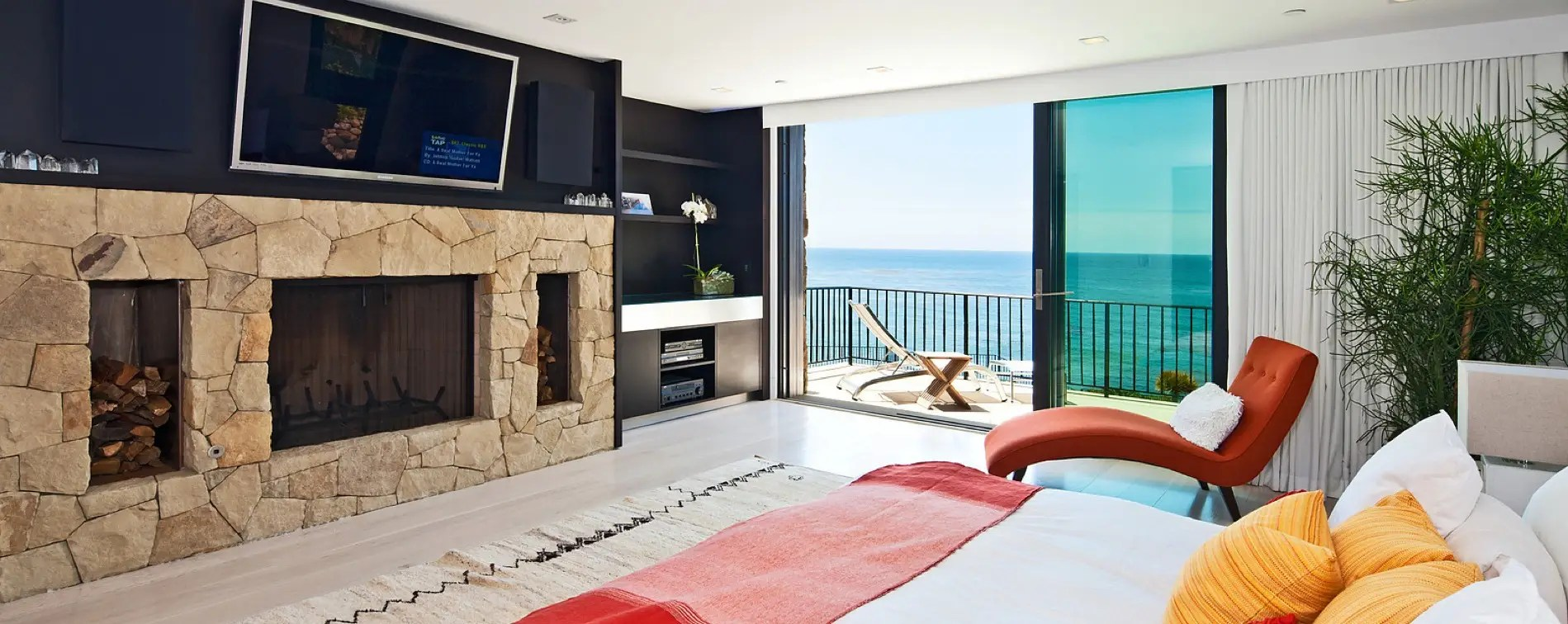 We love the fireplace and the placement of the flat screen TV above it.