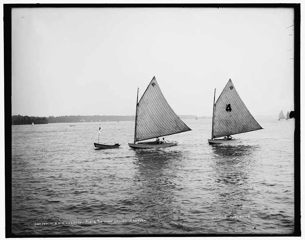 THE BIG RACE: These boats are participating in the Detroit Boat Club yacht regatta as they turn towards the next portion of the race.