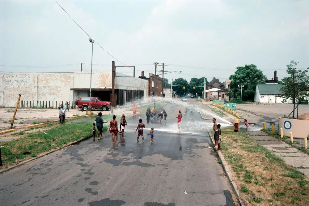 East Palmer Avenue towards Chene Street, a 95 degree day, Detroit, 1995
