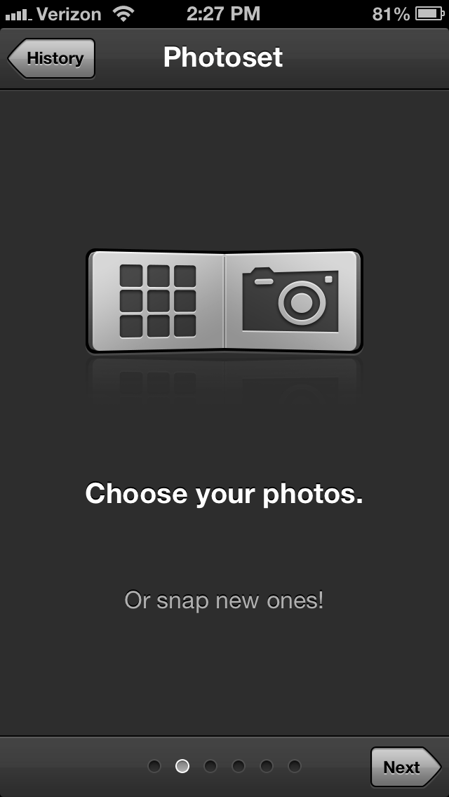 Choose photos from your camera roll or take a new one