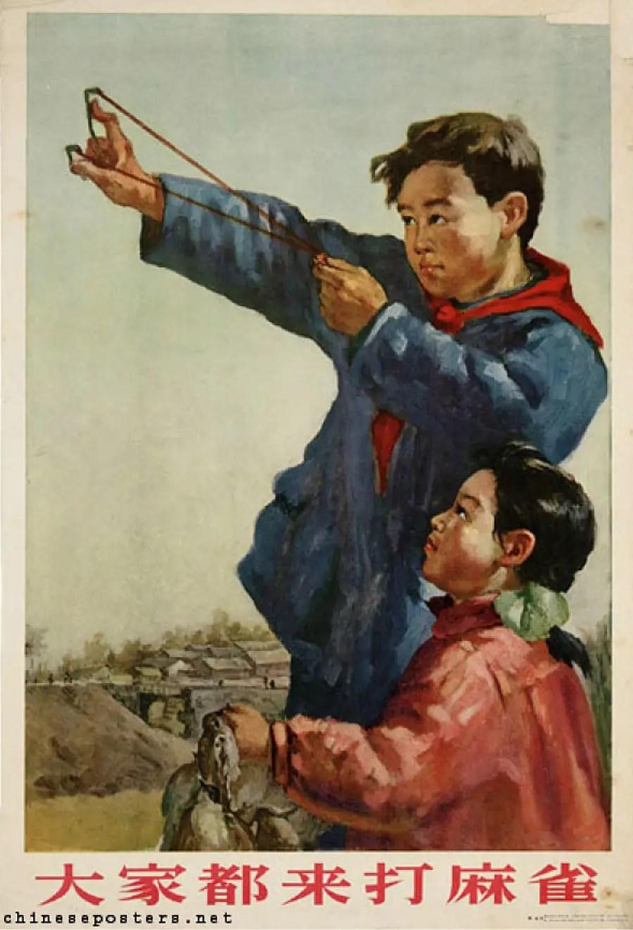 Этот знаменитый плакат призывает всех прийти и убить воробья (1956).