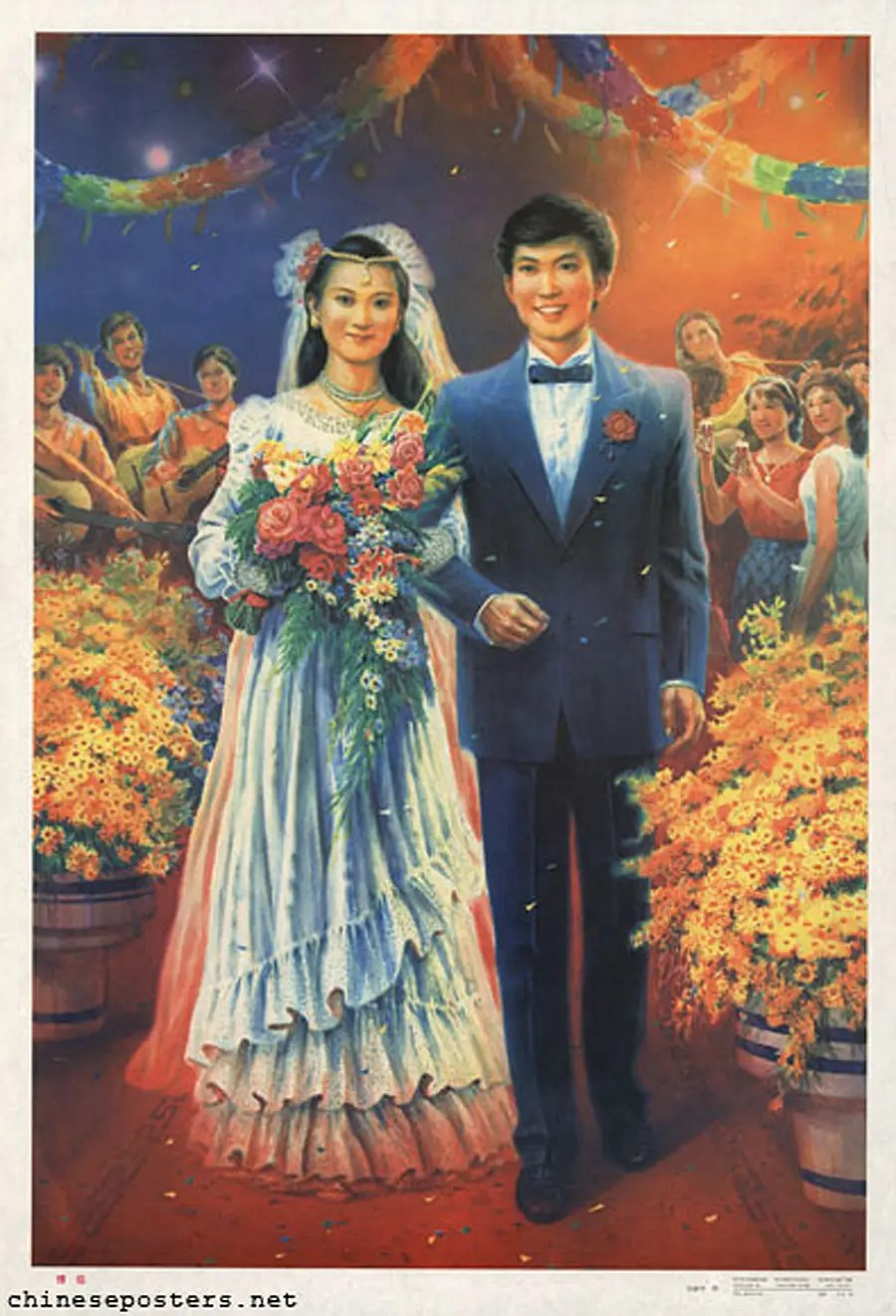 К 1989 политика в значительной степени исчезает из плакатов.  Это одно показывает западный стиль свадебного (1990).
