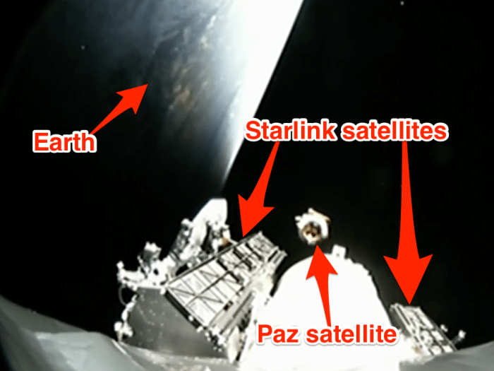 Starlink demo satellites falcon 9 rocket launch paz february 2018 spacex youtube labelled