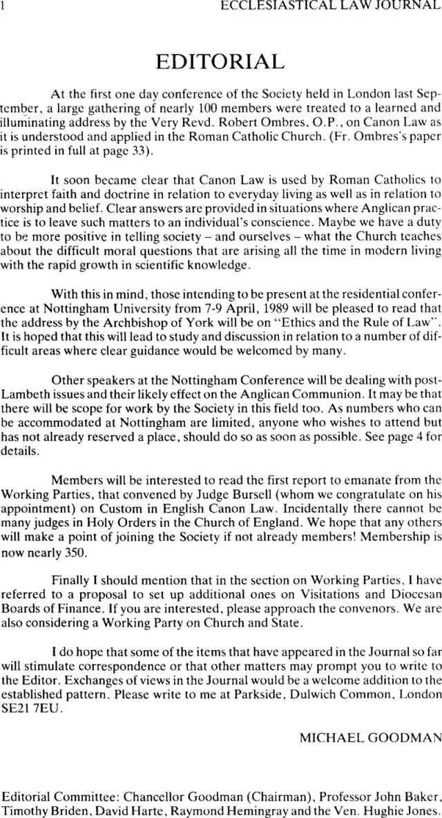 Editorial  Ecclesiastical Law Journal  Cambridge Core