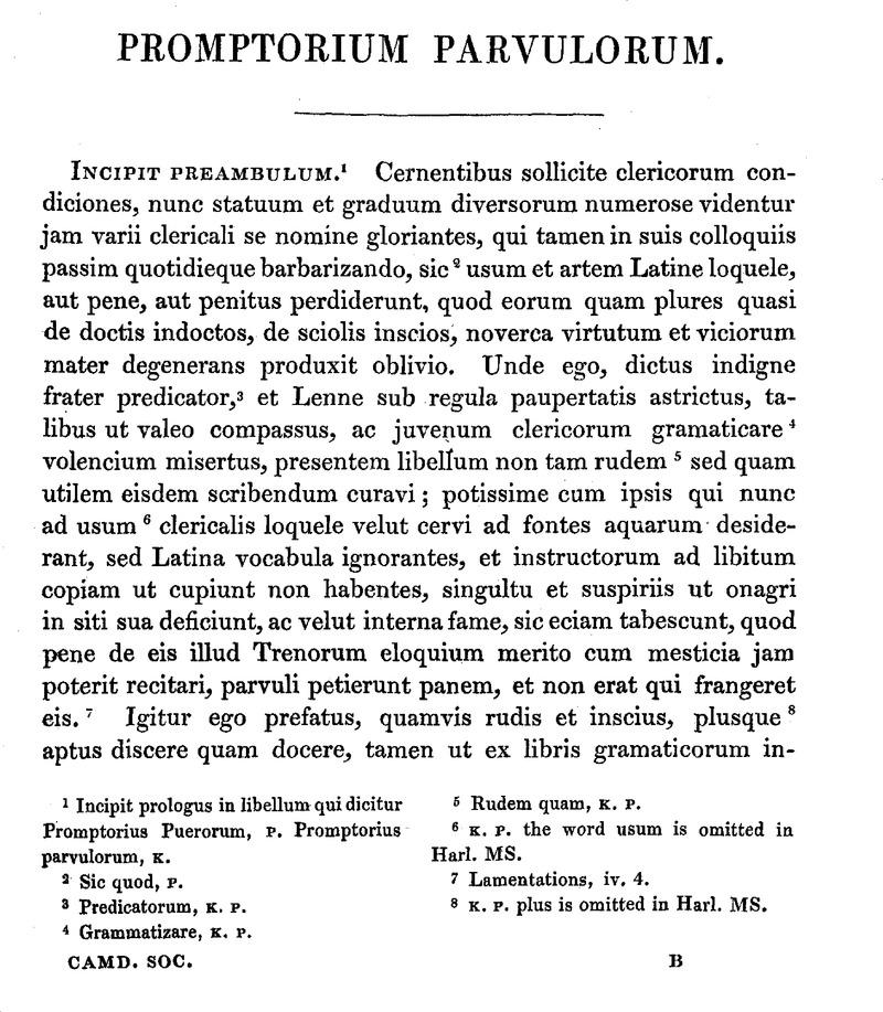 promptorium parvulorum and corrections