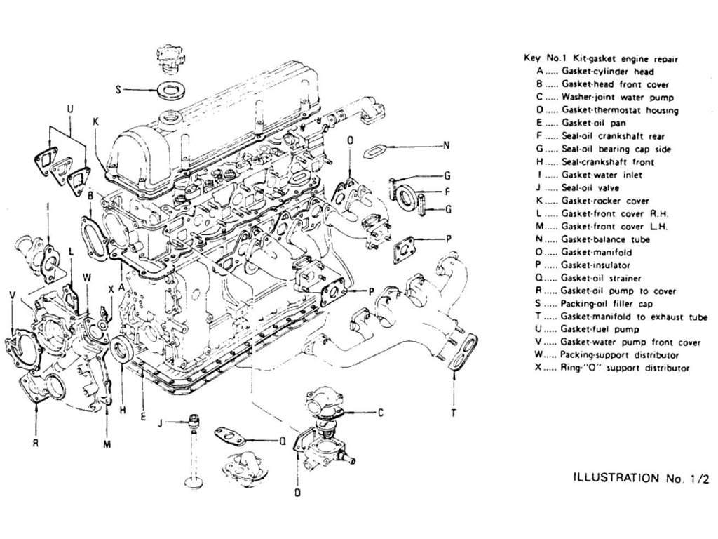 Datsun Z Engine Gasket Kit L24 L26 To Nov 74