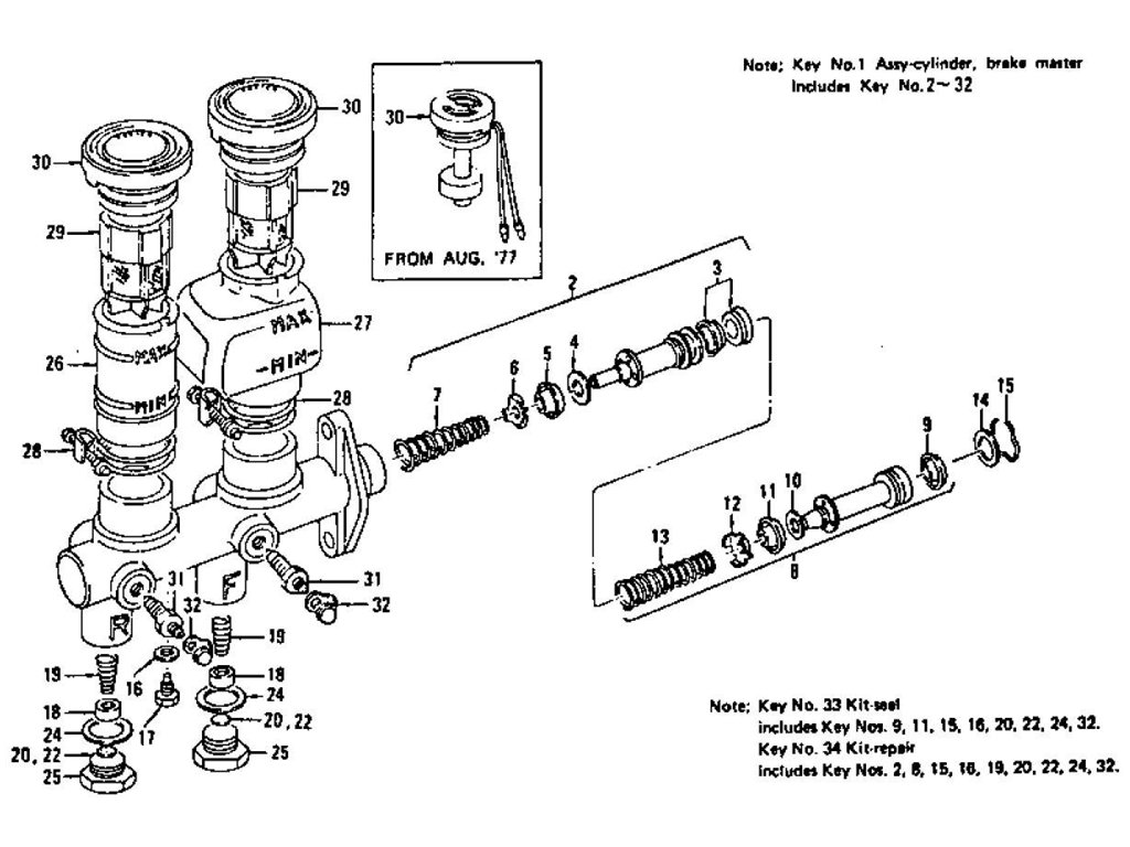 Datsun Z Brake Master Cylinder Tandem From Sep 71