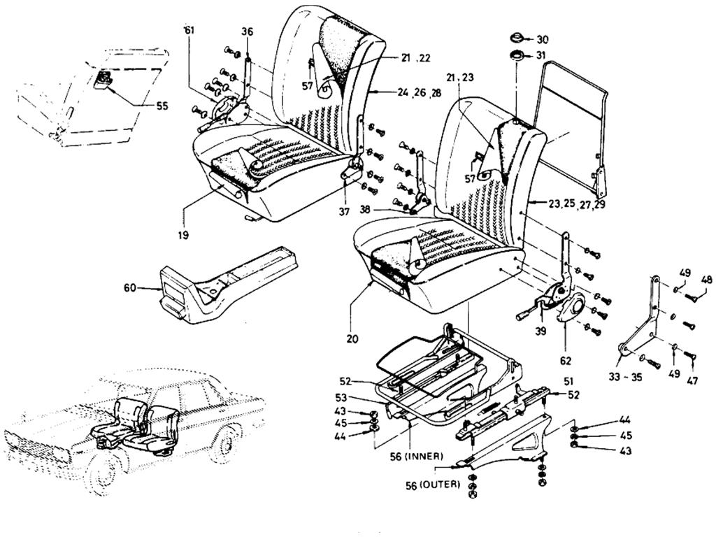 Datsun 510 Separate Type Front Seat Sedan 4 Door From Oct 68