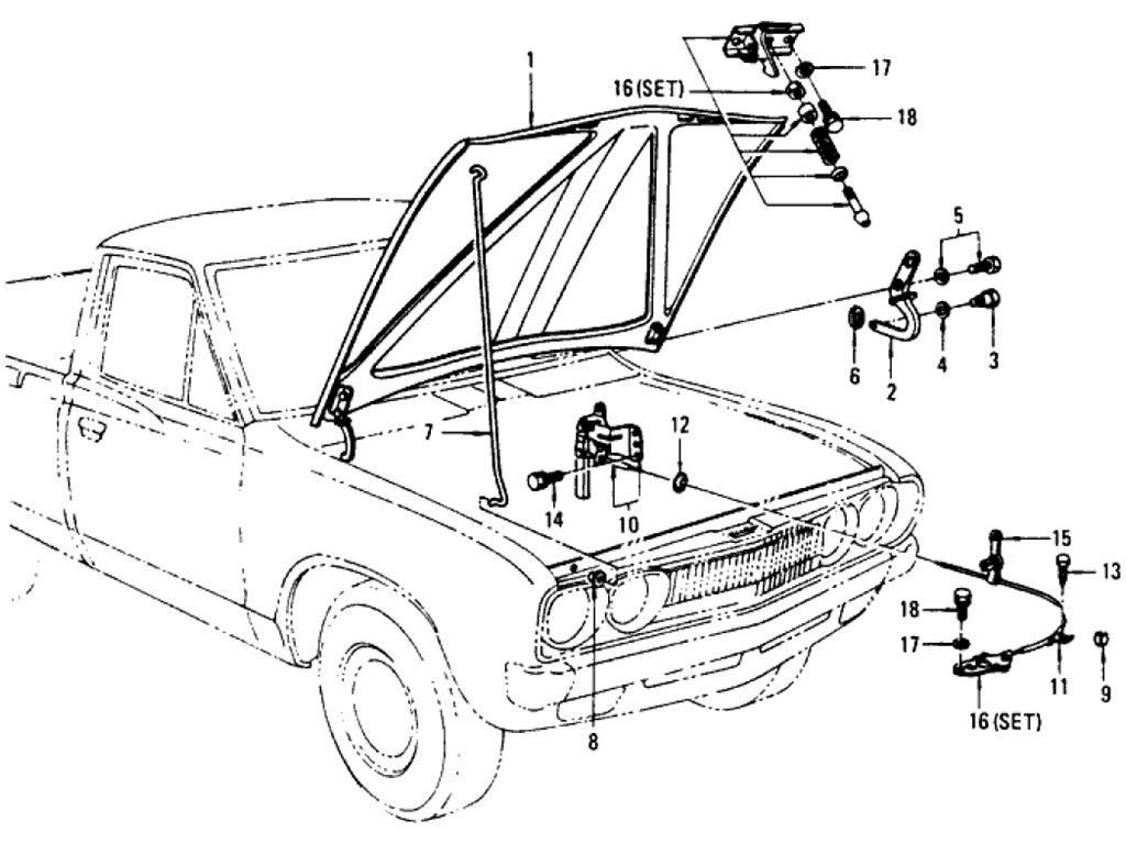 Datsun Pickup 620 Hood Amp Hood Lock