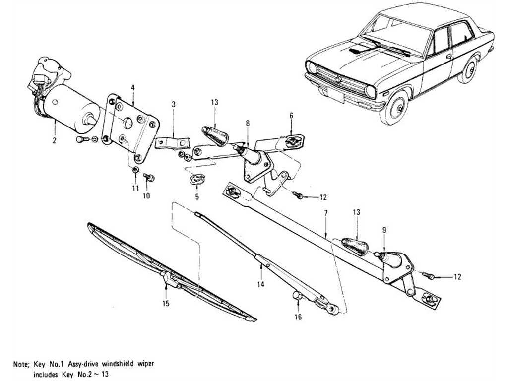 Datsun B110 Windshield Wiper Motor Amp Wiper Blade