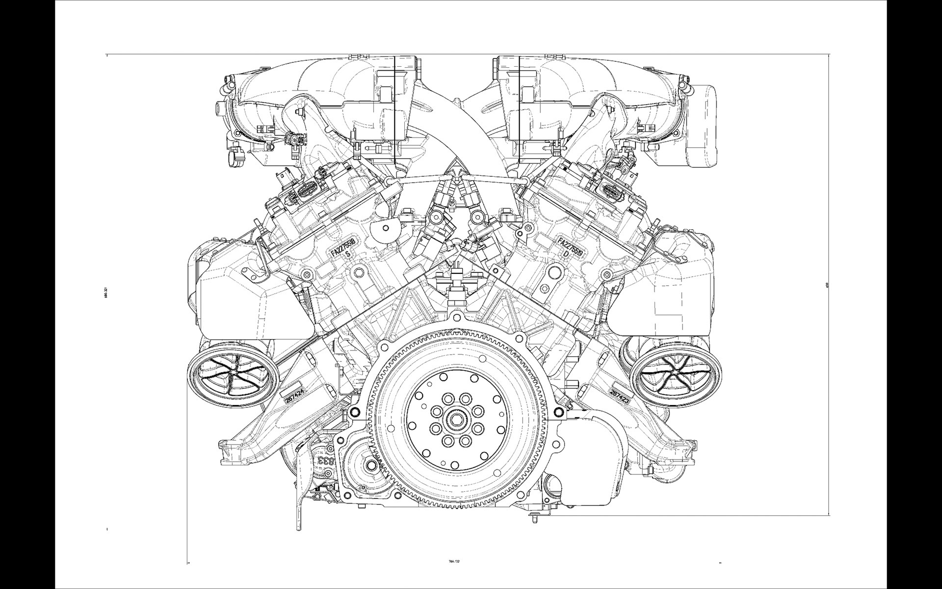 Ferrari F12 Engine Drawing