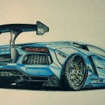 Lamborghini Aventador Liberty Walk Drawing Took A Lot On Time On This One About 15hrs