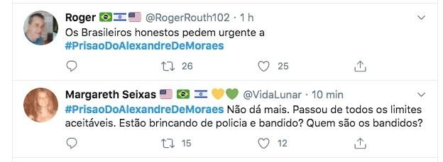 Usuários de rede social pedem prisão de Moraes
