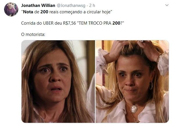 Usuários de redes sociais voltaram a fazer piadas com a nova cédula de R$ 200