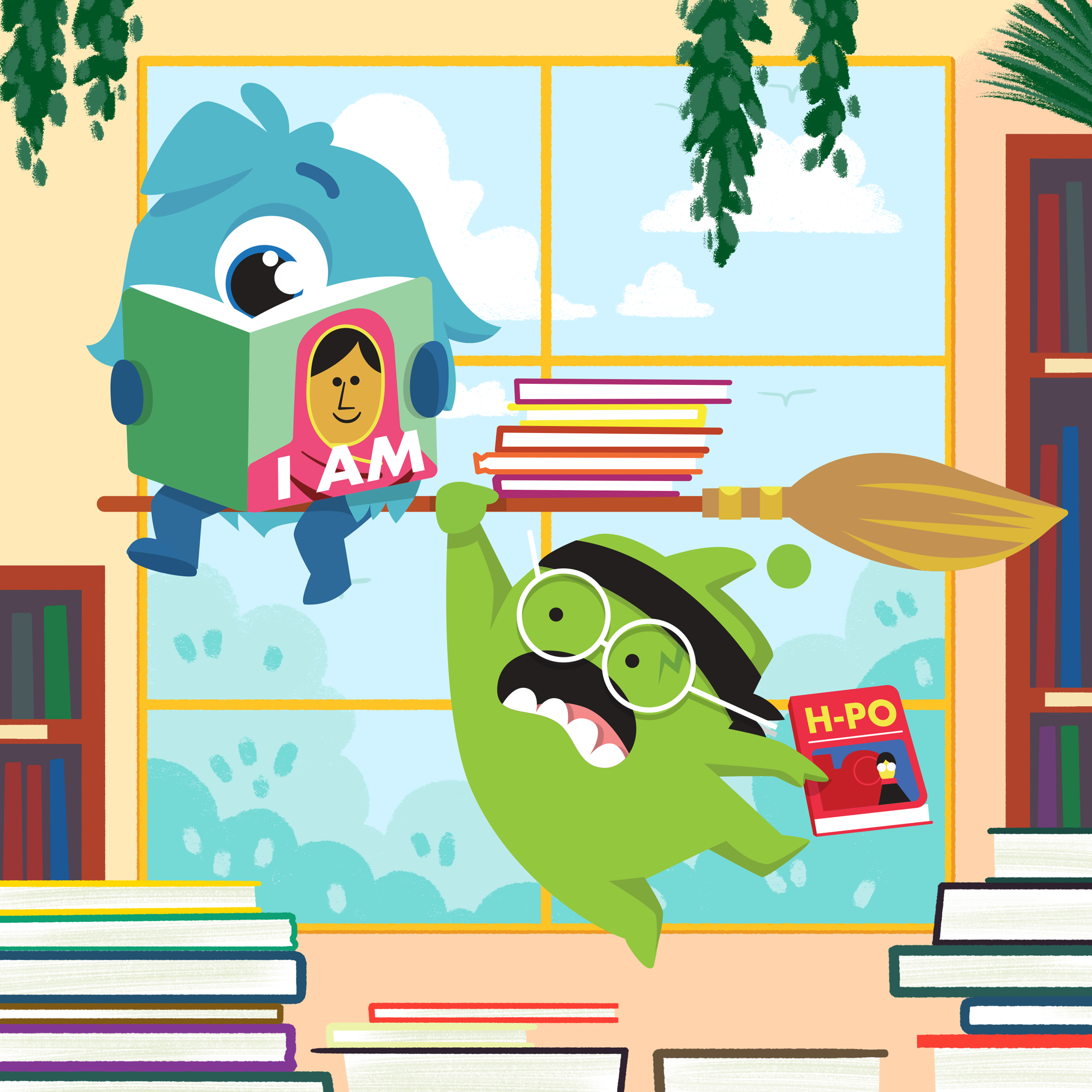 WORLD BOOK DAY reading Katie and Mojo are swept up in