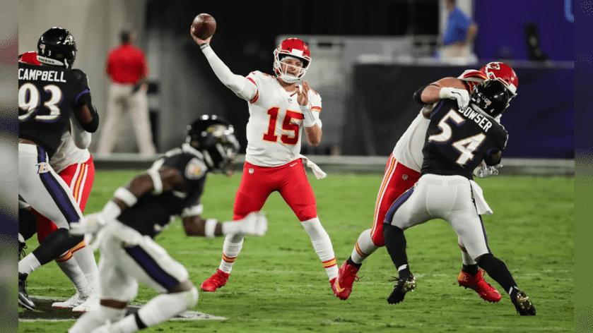 Kansas City Chiefs quarterback Patrick Mahomes (15) during the game between the Kansas City Chiefs and the Baltimore Ravens at M&T Bank Stadium on September 28, 2020