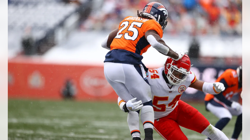 Kansas City Chiefs outside linebacker Damien Wilson (54) during an NFL football game against the Denver Broncos at Empower Field at Mile High on Sunday, Oct. 25, 2020