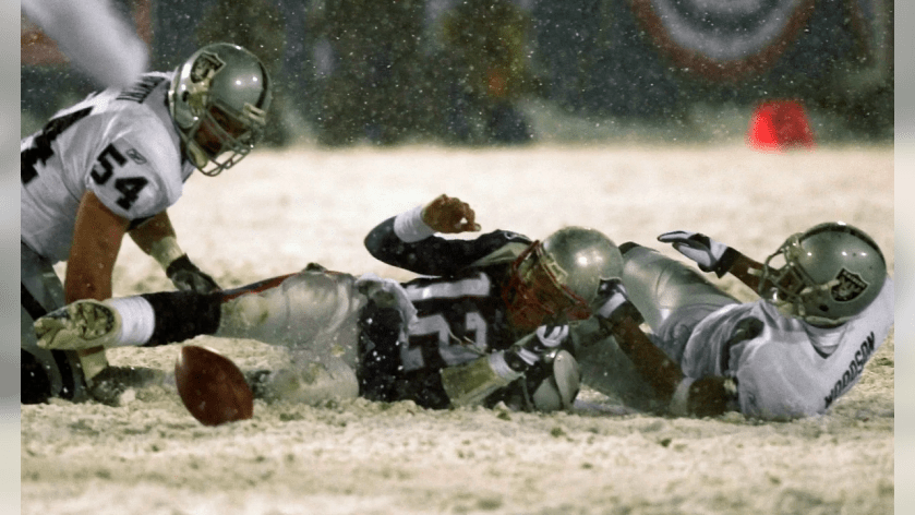 """12. The Tuck Rule announcement – """"After further review, the quarterback's arm was going forward, it is an incomplete pass."""" The Patriots fortunes changed quickly when referee Walt Coleman uttered those words. Still trailing by three in a 2001 Divisional Playoff game at Foxboro Stadium (the last game ever played there), the Patriots converted a fourth down, booted a 45-yard field goal through the snow and won in overtime. It took 25 years to exact some revenge for the Phantom Roughing the Passer call that cost the Patriots a 1976 playoff win over the eventual champion Raiders. This game evokes emotions."""