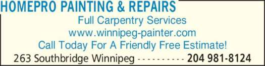 Ad Homepro Painting Repairs