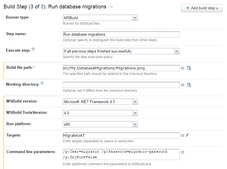 Setting up Fluent Migrator to run on a build server – The