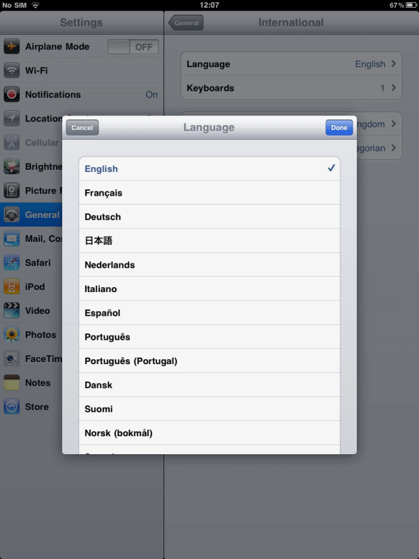 iPad Language dialog (English... as in American English)