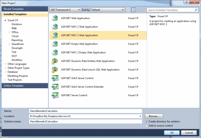 1 - Visual Studio 2010 New Project dialog