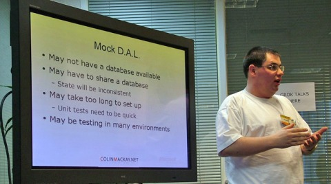 Colin Mackay presenting Mock Objects (Grok Talk)
