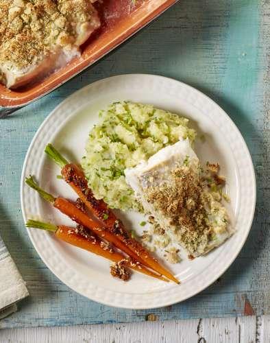 cabillaud puree a la ciboulette et carottes primeur