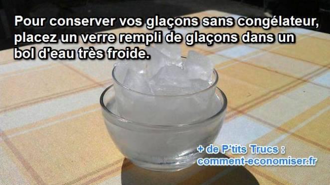 Verre de glaçons dans un bol d'eau froide pour les conserver