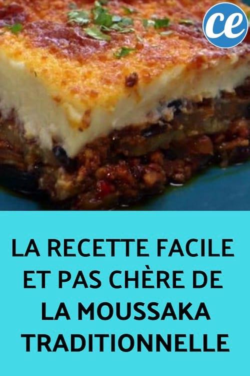 la recette facile et pas chere de la moussaka traditionnelle
