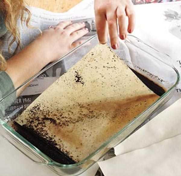 Mettez le papier dans du marc de café humide pour le vieillir