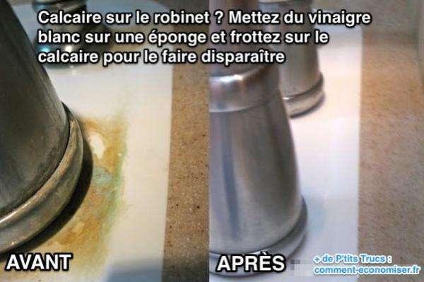 Avant après d'un robinet nettoyé au vinaigre blanc