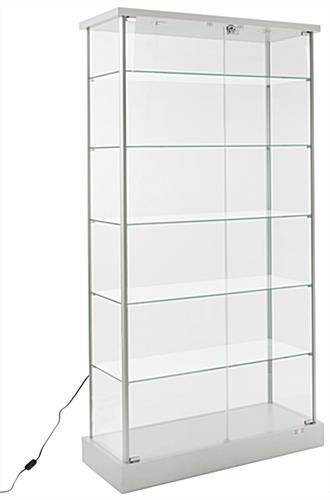 37 glass display case w 5 shelves 2 top lights hidden wheels hinged door silver
